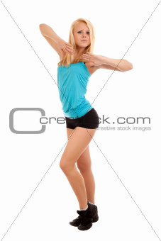 Sexy young blonde woman dancing