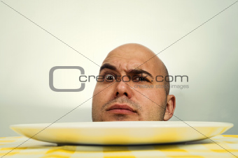 Human head on plate