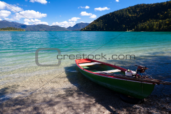 Wooden boat on Walchensee
