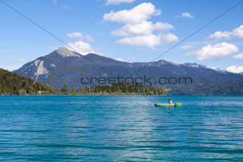 fisherman on alpine Walchensee