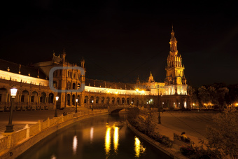 Plaza Espana at night, Sevilla