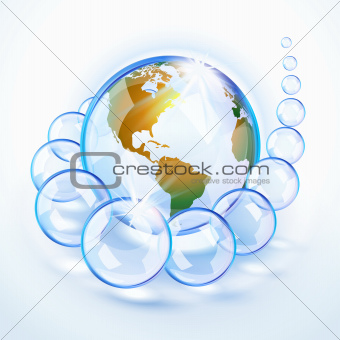 Blue bubbled Earth America