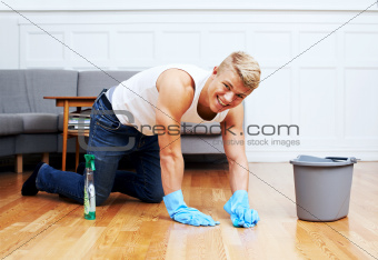 Not afraid to get his hands dirty - Housework