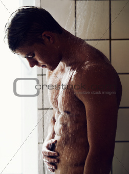 Rock hard abs in the shower