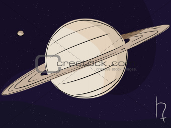 Saturn with Moon Titan