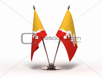 Miniature Flag of Bhutan (Isolated)