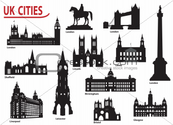 Silhouettes of cities in the UK