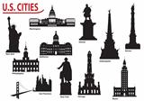 Silhouettes of U.S. cities