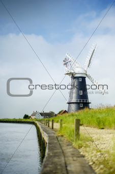 Norfolk Broads black and white windmill
