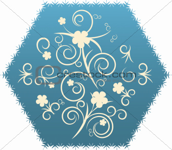 Abstract flowers on decorative polygon