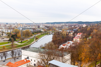 top view of Vilnius and the River Neris