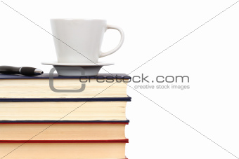 Books  with cap and pen