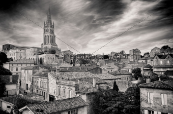 St Emilion village in Bordeaux region, monochrome