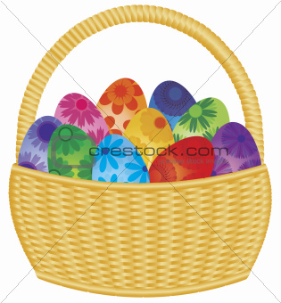 Easter Eggs Basket Illustration