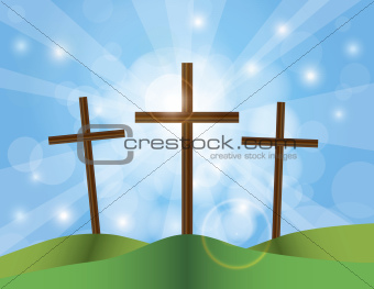 Easter Good Friday Crosses on Blue Sky Background