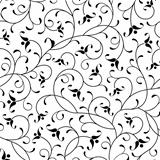 floral oriental black calligraphy isolated seamless pattern