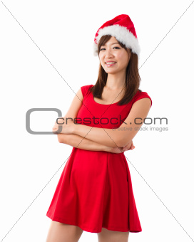 asian christmas girl isolated on white