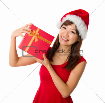 asian girl with a present box during christmas,isolated on white