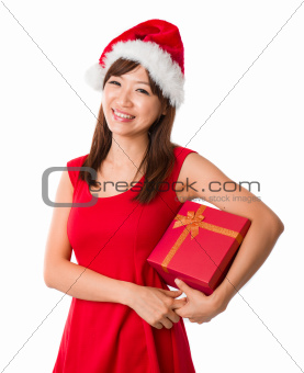 asian girl with a  present box during christmas
