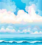 Clouds on a blue sky and sea with waves