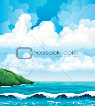 Summer landscape with clouds, island and sea with waves