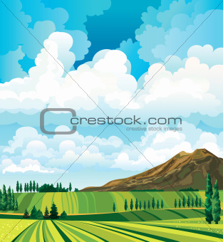 Summer landscape with meadow, cypress, mountain and clouds