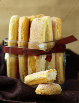 Traditional Italian sugar biscuit cookies savoiardi