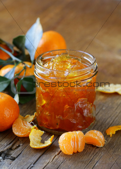 orange mandarin homemade jam marmelade in a glass jar