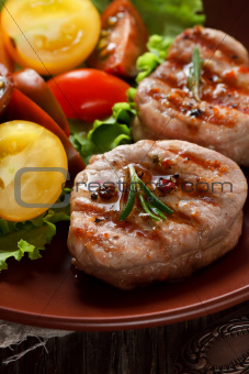 Grilled meat.