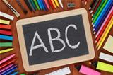ABC on a blackboard or chalkboard