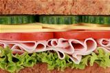Closeup of a sandwich with ham