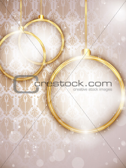 Merry Christmas Gold Balls with Retro Background