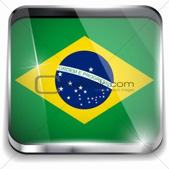 Brazil Flag Smartphone Application Square Buttons