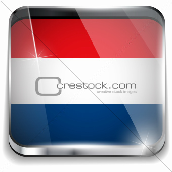 Netherlands Flag Smartphone Application Square Buttons