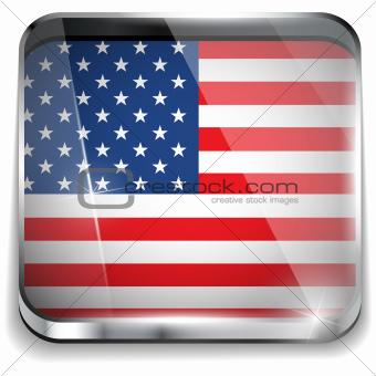 USA Flag Smartphone Application Square Buttons