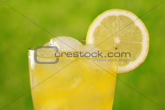 Cold lemonade with ice cubes