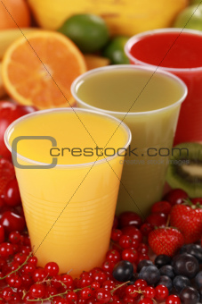 Fresh juices in drinking cups
