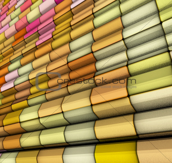 3d render abstract multi color tiled backdrop