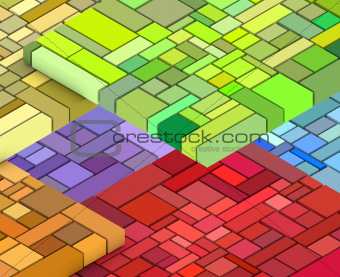 3d render of cubic shape in multiple rainbow color