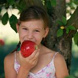 Little girl biting into an apple