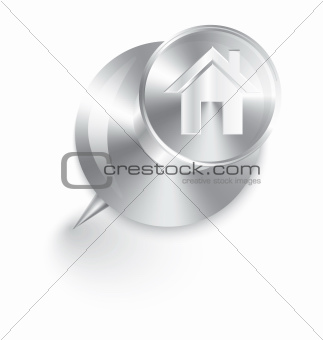 Home icon metal push pin vector