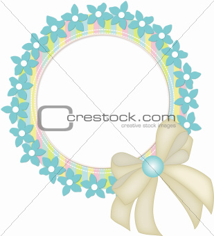 Circle frame with flowers and ribbon