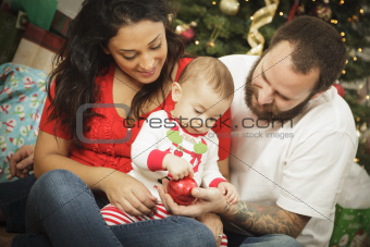 Young Mixed Race Family Portrait Near the Christmas Tree.