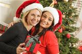 Attractive Young Mixed Race Girlfriends with Christmas Gift Wearing Santa Hats Near the Tree.