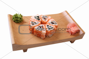 set of sushi with caviar
