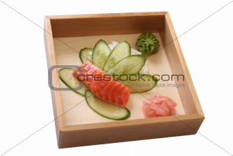 piece of salmon with a cucumber