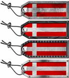 Denmark Flags Set of Grunge Metal Tags