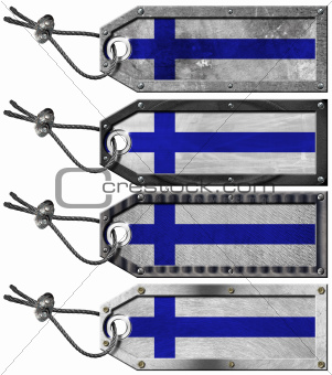 Finland Flags Set of Grunge Metal Tags