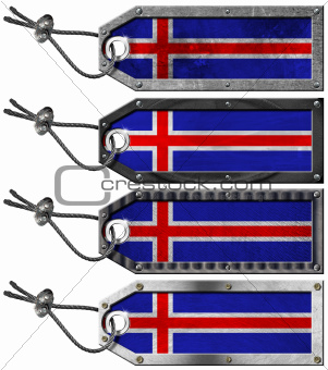 Iceland Flags Set of Grunge Metal Tags