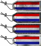 Netherlands Flags Set of Grunge Metal Tags